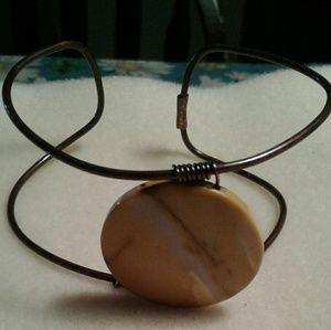 Jewelry - An adjustable jasper coin gemstone cuff